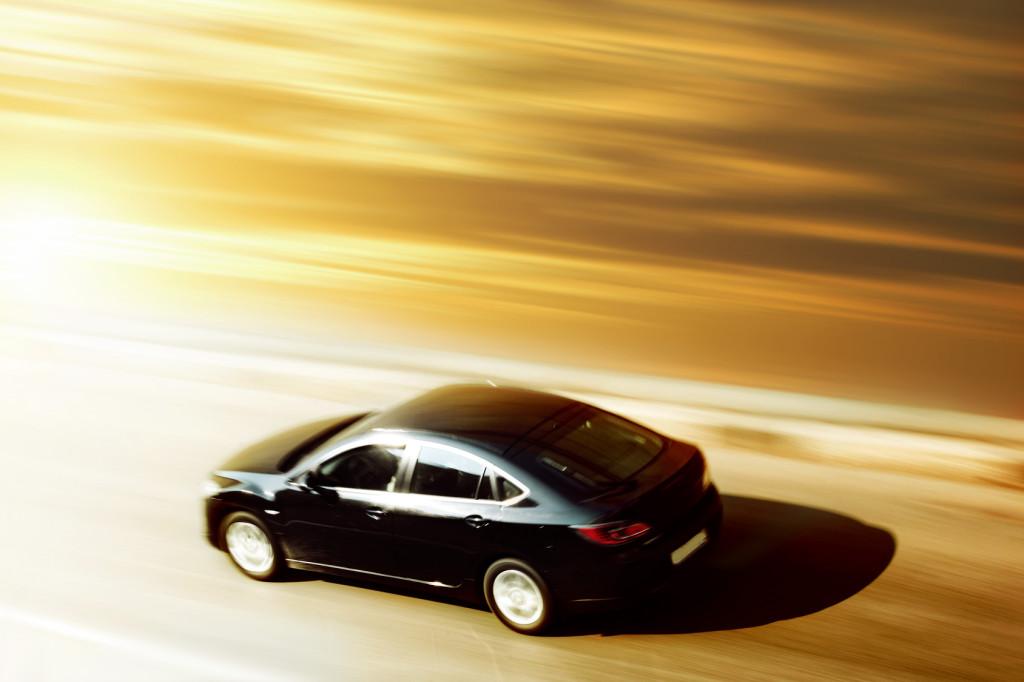 sunrise trip on speed car blurred inmotion